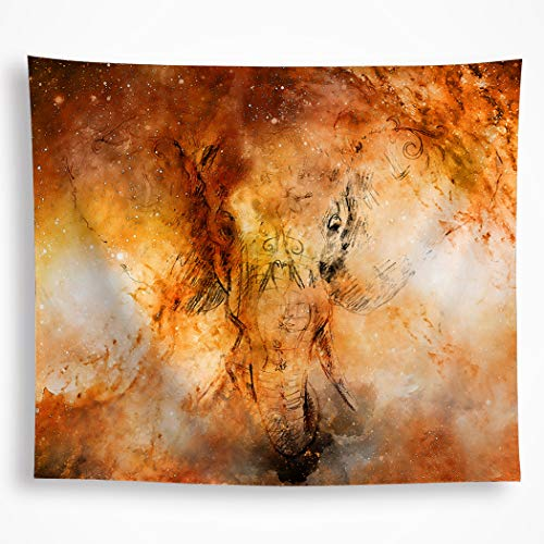 Indian Elephant Tapestry Wall Hanging Psychedelic Trippy Abstract Animal Wall Blanket Watercolor Painting Bohemian Hippie Tapestry Home Décor for Bedroom Living Room Dorm 51'X59', Orange