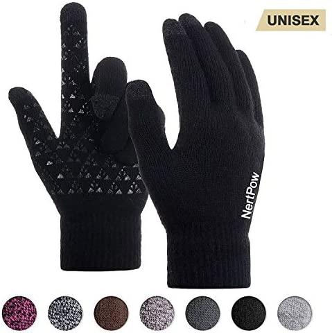 Winter Gloves For Men And Women Warm Knit Touch Screen Texting Anti Slip Thermal Gloves With product image