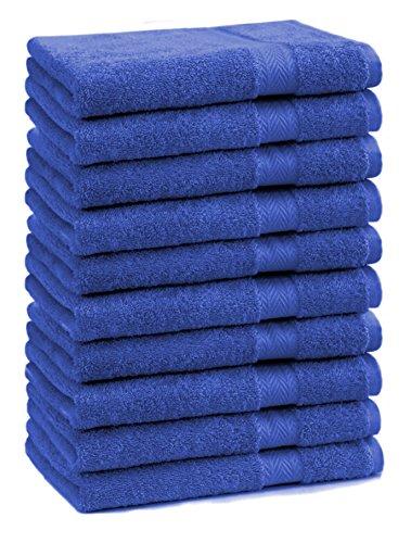 Betz 10 Stück Gästehandtücher Premium 100% Baumwolle Gästetuch-Set 30x50 cm Farbe Royalblau