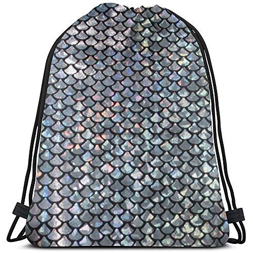 senob Swatch-Silver-fish-scale-600x600 Tragbarer Unisex-Turnhallen-Rucksack mit Kordelzug Umhängetaschen Leichter Reisesport-Yoga-Rucksack