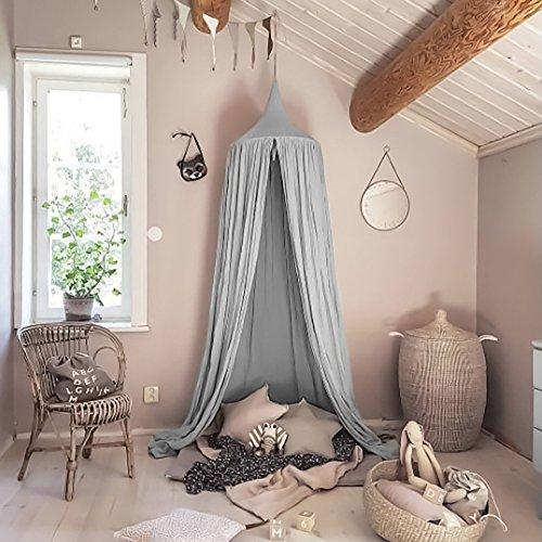 Tyhbelle Baby Baldachin Betthimmel Kinder Babys Bett Baumwolle Hängende Moskiton für Schlafzimmer Ankleidezimmer Spiel Lesen Zeit Höhe 230 cm Saumlänge 270cm (Grau)