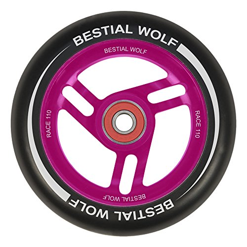 BESTIAL WOLF Rueda Race PU Color Negro y Core Rosa, Diámetro 110 mm