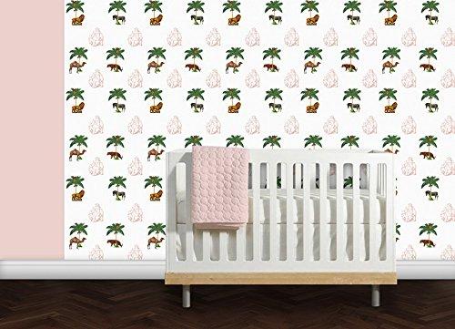 Elegante Dschungel Tapete (rot) La Ménagerie mit Tieren unter Palmen - Vlies Tapete Tiere - Retro Kolonial Wanddeko - GMM Design Tapete - Wandtapete - Wand Dekoration für klassische Wohnakzente (Muster 20 x 46,5cm)