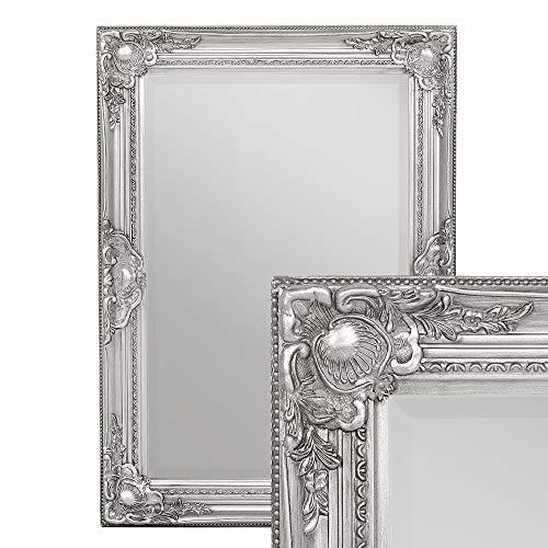 LEBENSwohnART Wandspiegel LEANDOS 70x50cm Silber-Antik barock Design Spiegel pompös Facette