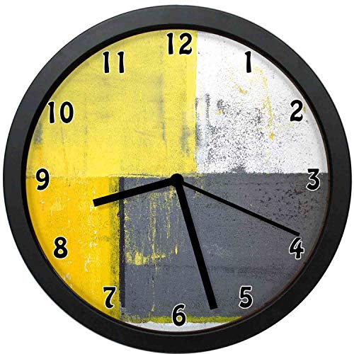 YiiHaanBuy Grey and Yellow Decorative Wall Clock,Street Modern Grunge Abstract Squares - Silent Quartz Wall Clock,The Best Gift for Loved Ones,Friends,couples-10inch