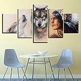 5 Piezas Cuadro sobre Lienzo De Fotos Lobos y guerreros indios nativos americanos Lienzo Impresión Cuadros Decoracion Salon Grandes Cuadros para Dormitorios Modernos Mural Pared Listo para Colgar