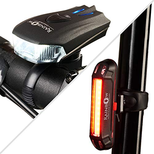 Rainbow Cool Stuff Bike Light Set, USB Rechargeable LED. Run Time 16+hours, powerful 400 Lumen Front Headlight & 100 Lumen Tail-light. Bicycle Lights for Road & Mountain. Water Resistant Cycle Lights