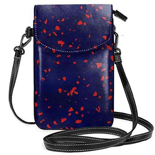 Terrazzo Memphis Blue Galaxy Orange Leichte Kleine Crossbody-Taschen Handytasche Geldbörse für Frauen Mädchen mit praktischem Tragen