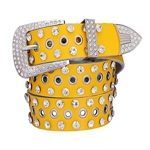 PmseK Cintura Donna Uomo Fashion Rhinestone Cow Vera Pelle Belts For Women Luxury Pin Buckle Woman Belt High Quality Waist Strap For Jeans Female Yellow B 100 cm