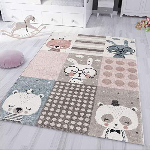 VIMODA kinderteppich Kinderzimmer Teppich Pastell Blau Braun Rosa Fabel Tiere, Maße:120x170 cm
