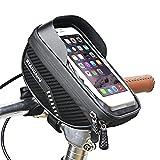 Borsa per telaio della bici, Bike Frame Bag, Waterproof Bike Pouch Bag, Large Capacity Bike Phone Bag, Top Tube Touchscreen Storage Bag with Headphone Hole for iPhone Samsung Huawei Xiaomi