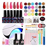 Gel Nail Polish Starter Kit, with 6 Colors Gel Nail Polish and 36W