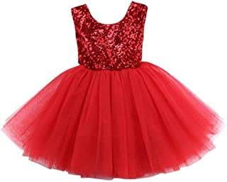 Toddler Girl Baby Lace Flower Sequin Tutu Dress Tulle Pageant Wedding Party Formal Girls Dresses red02 2-3T