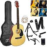 3rd Avenue Pack de guitarra acústica de tamaño estándar 4/4 para principiantes con funda de transporte con púas, cuerdas de repuesto, soporte, correa, afinador, cejilla y manivela, Natural