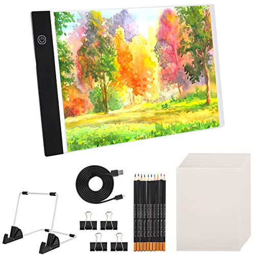 (66PCS)A4 Led Light Painting Kits, Portable LED Tracing Light Board, DIY Dimmable Light Brightness Table,Reusable A4 Painting Pads Best for Artists Drawing,Sketching and Animation Stencilling,Tracing.