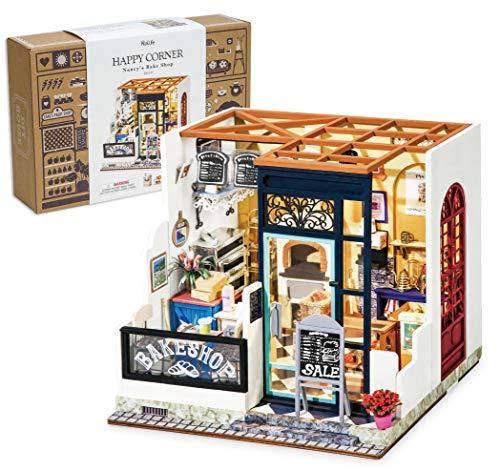 HMANE Miniature Dollhouse Kit, DIY Wooden Miniature Furniture House Decorations with LED, Nancys Bake Shop