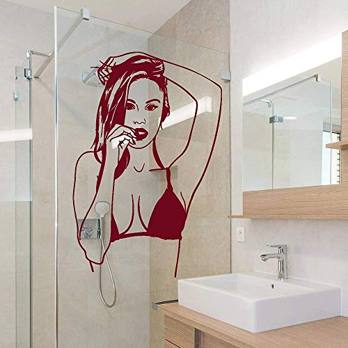 Hot Girl in badpak Beach stijl Stickers Vinyl muursticker behang voor muren in rollen Fashion Trend in stijl Decor 57x86cm