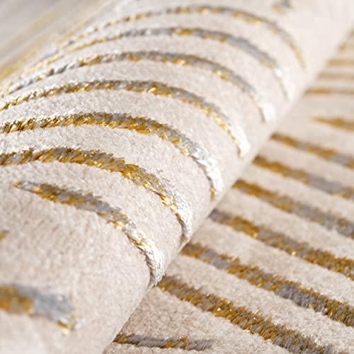 mynes Home Tapis à poils courts beige doré - Facile d