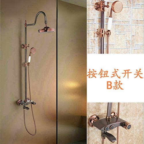 El juego de ducha de cobre, columna de ducha de color rosa dorado ...