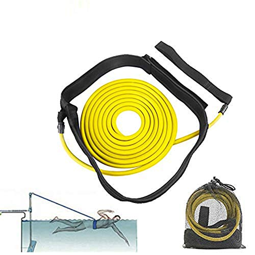 FOOING Einstellbare Pool Schwimmgürtel, Schwimmwiderstand Gürtel Schwimmtraining Bungee Durable Schwimmgurt Bremsschirm und Elastikband für Schwimmingpools Widerstandstraining (3M Gelb)