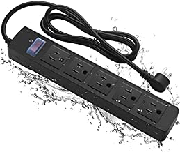Waterproof Power Strip,Outdoor Power Strip Weatherproof with 5 Outlets.Indoor Water Resistant Surge Protector with 6ft Power Cord for Kitchen,Patio,Bathroom etc (Black)