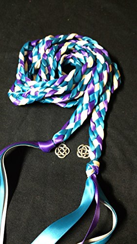 Purple Teal Ivory Ceremony Braid- Celtic Knot-6 ft- Wedding- Handfasting Cords- Braided Together- Handfasting