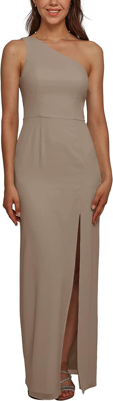 ALICEPUB One Shoulder Chiffon Bridesmaid Dresses for Women Long Bodycon Formal Dresses for Wedding Party