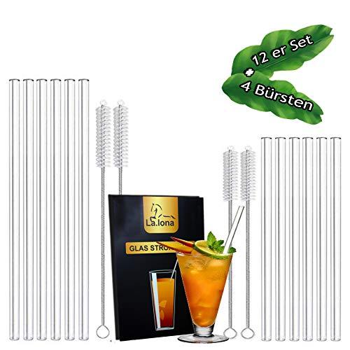 La.lona Glas Strohhalme Umweltschonende12er Set,100% plastikfrei,kälte-und hitzebeständig, inkl 4 Reinigungsbürsten - Reinigungstuch und Samt Säckchen, Trinkhalme für kalte und heiße Getränke