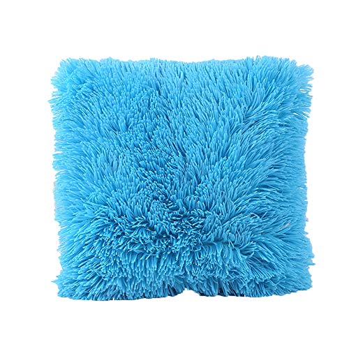 leveltech Cute Plush Furry Throw Pillow Cover Throw Pillow Case for Living Room Bedroom Sofa Decor (Blue)