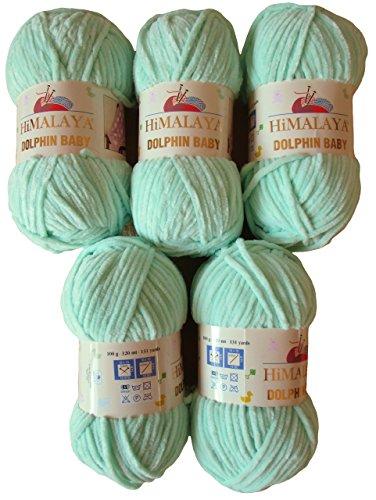 Ilkadim 5 x 100 Gramm Himalaya Dolphin Strickwolle, Babywolle 80307 Mint grün, 500 GrammWolle