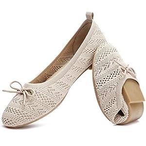 HEAWISH Women's Flats Shoes Comfortable Black Beige Flats Crochet Lace Mesh Round Toe Slip On Casual Ballet Flats Dress Shoes(Beige, US10)