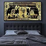 Billete de 1 dólar de oro Patrón de moneda en efectivo George Washington Dinero Nunca duerme Lienzo Pintura Arte de la pared Póster Sala de estar Dormitorio Oficina Decoración del hogar