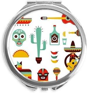 Sombrero Tequila Guitar Chili Mexico Elment Mirror Round Portable Hand Pocket Makeup