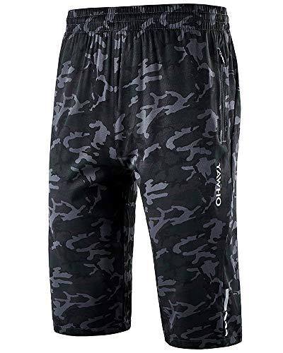 YAWHO Herren Sporthose Kurz Hose Laufshorts Trainingsshorts Schnelltrocknend mit Reißverschlusstasche/Jogging Hose für Workout,Laufsport,Fitness (Camouflage (1909), L)