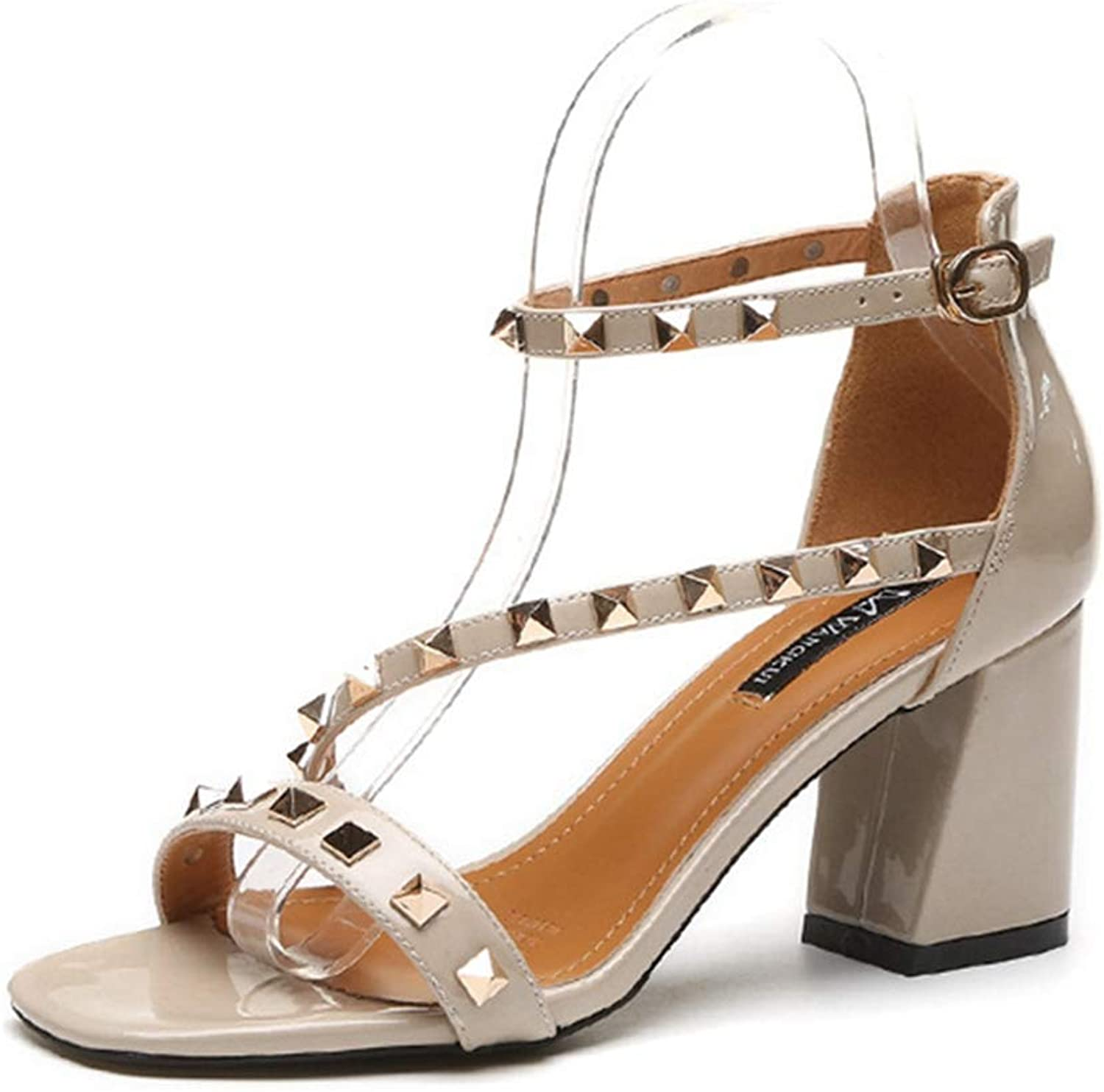 GIY Women's Rivets Strappy Ankle Strap Sandals Open Toe Party Simple Classic Pump Chunky Block High Heel Sandals