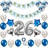 Haosell 26 Anniversaire Décoration Set Argent Bleu Anniversaire Décoration Fête d'Anniversaire Happy Birthday Bannière 26 Ans Ancien Argent Chiffres Ballons Décoration pour Femme, Hommes