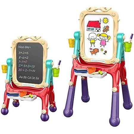 Caballete para Niños Caballete de Arte de Doble Cara con Pizarra y Pizarra Magnética para Dibujo en Niños Pequeños, Altura Ajustable Giratoria de 360 ° (Rojo)
