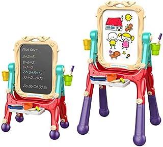 Arkmiido Chevalet d'art pour Enfants Double Face avec Tableau Noir et Tableau Magnétique Effaçable à Sec pour Dessin d'enf...