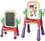 Arkmiido Chevalet d'art pour Enfants Double Face avec Tableau Noir et Tableau Magnétique Effaçable à Sec pour Dessin d'enfant en Bas âge, Rotation Réglable à 360 ° (Rouge)