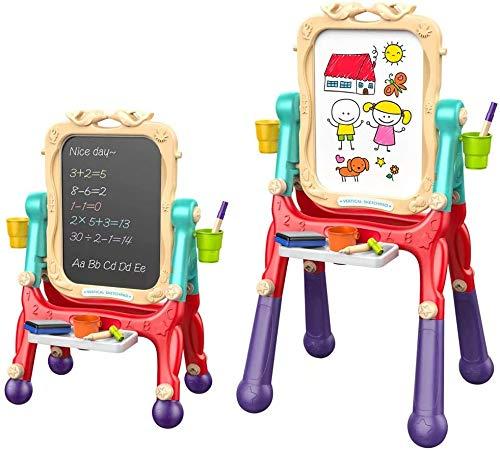 Arkmiido Cavalletto per Bambini Cavalletto Doppio Lato con Lavagna e Lavagna Magnetica a Secco per Disegno per Bambini, Altezza Regolabile con Rotazio