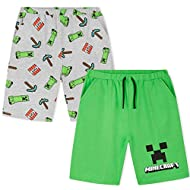 PACK OF 2 MINECRAFT SHORTS --- This set of 2 shorts is perfect for any Minecraft fan, boys or teenagers. Our comfortable jogger shorts come with an elasticated waist and 2 side pockets in two different colours and designs. The green short features th...