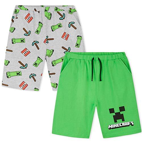 Minecraft Pantalones Cortos, Pack de 2 Pantalones Chandal Niño Deporte Casa, Regalos...