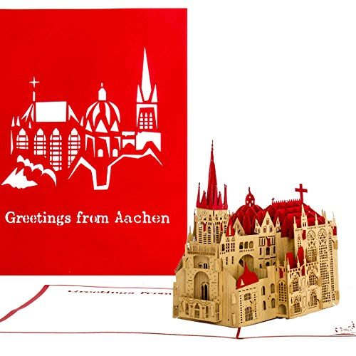 'Pop Up Card AAC Hener Dom Holes Greetings from Aachen Red Card Aix La Chapelle Greeting Card, greeting card postcard gift souvenir Aachen