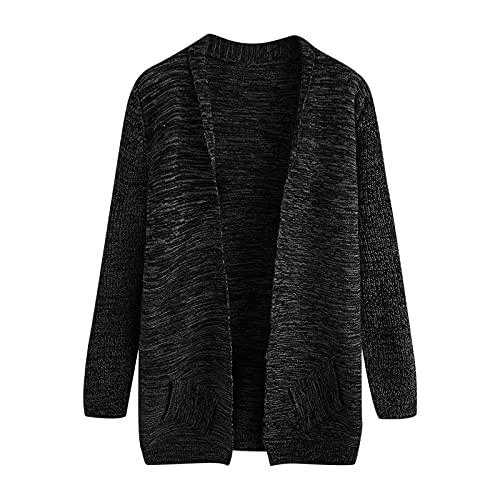 Chaqueta de lana de punto para hombre, de manga larga, sólida, de punto, de corte normal, sudadera, informal, de manga larga, cálida para otoño e invierno, Negro , XL
