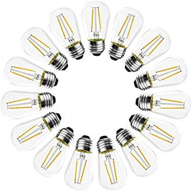 BANORD (15 Pack) LED S14 Filament Bulbs 2W, 2700K (Warm White), 200 lumens, Vintage Edison Great For String Lights, Commercial Lighting, Patio, Wedding, Events