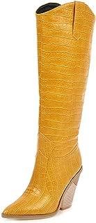 KemeKiss Women Retro Western Boots Wedge Heels Long Boots