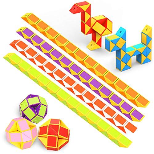WEARXI Mitgebsel Kindergeburtstag - 12er 24 Blöcke Schlange Würfel Spielzeug Knobelspiele Kinder, Give Aways Kindergeburtstag Gastgeschenke Jungen Magische 3D Puzzle Kinder Party Zufällige Farben