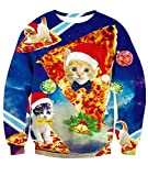 Idgreatim Teenager Girls 3D Pizza Cats Graphic Long Sleeve Ugly Christmas Pullover Sweatshirt Sweater M