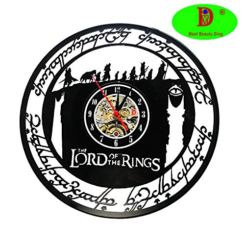 El Señor Anillo Vinyl Record Creative Reloj de pared 30,5 cm negro Round de Handmade de Wall Reloj Tiempo Reloj de pulsera Kitchen de tipo Home Decor
