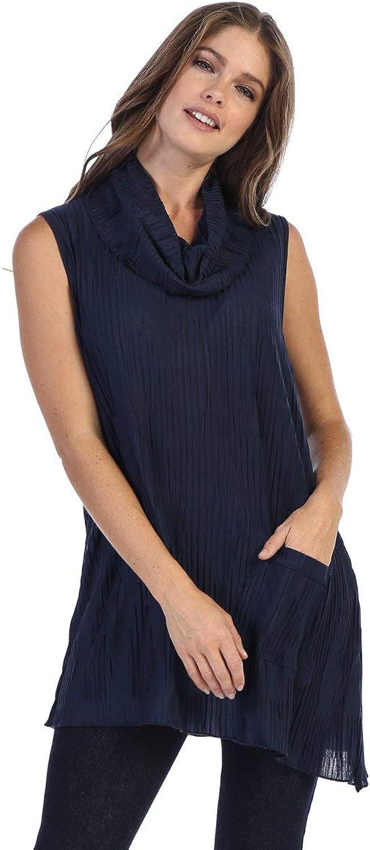 Fashion Focus Asymmetric Cowl Neck Sleeveless Tunic Top